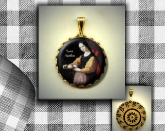 St. AGATHA Catholic Patron Saint of breast cancer patients flat button CABOCHON in Brass Charm / Pendant