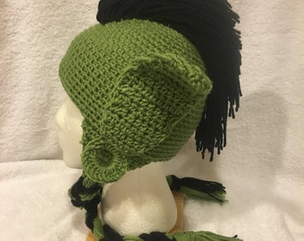 Crochet Elf/Troll Hat in Green and Black with Mohawk