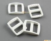 100 Pieces 15mm White Plastic Tri-Glide Slider Adjustable Buckle for Bag Backpack Strap (RBCNO76)