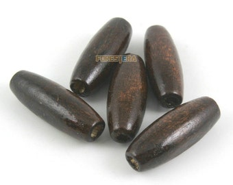 8x22mm Oval Wood Bead Dark Brown Oval Wood Bead for Jewelry (BEAD-A41-8x22-02)