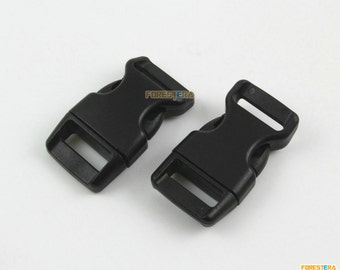 50 Pieces 15mm Black Plastic Side Quick Release Buckle Clip for Backpack Bag (RBCNO26)