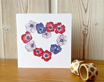 Valentine Card - Red white and Purple Anemone Flower Heart - from Original Illustration - Love