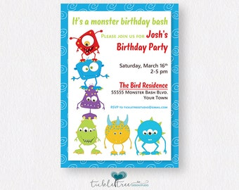 Personalized Birthday Party Invitations - It's a Monster Bash/Boy's Birthday (Style 13151)