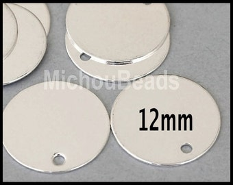 25 SILVER 12mm Drops - Flat Round Blank STAMPING Disc Charm - Stamping Findings / Pendant / Coin - Instant Ship - USA Wholesale - 5388