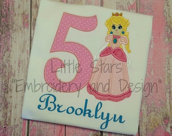 Princess Peach with Number Birthday Shirt - You Choose Number 1-9 - Appliqued and Personalized