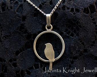 Argentium sterling silver bird pendant
