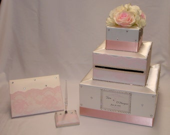 Ivory and Blush Pink Wedding Card Box and Guest Book /Pen-Lace , Rhinestones, Silk Flowers-any colors
