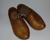 Vintage carved wooden shoes to upcycle display Nice Look