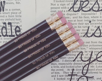 so proud of you  pencil pack of 6 engraved pencils in dark brown. Grad gift