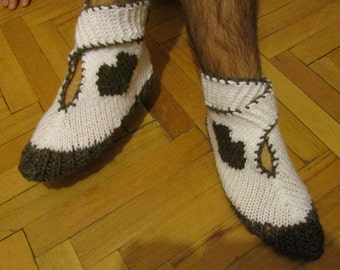 Valentines Day, Knitted Men Socks, Women Wool Socks, Heart Socks, Winter Accessories, Gift under 40, House Shoes, Slipper, Winter Fashion,