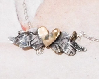 Flying Heart Necklace // Sterling Silver and Brass