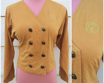 CLEARANCE - Nautical inspired mustard yellow jersey 80s jacket size large