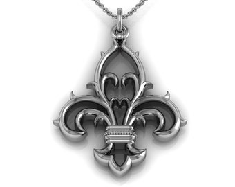 Fleur de Lis Necklace in 14k White Yellow Rose Gold | made to order for you within 5-7 business days