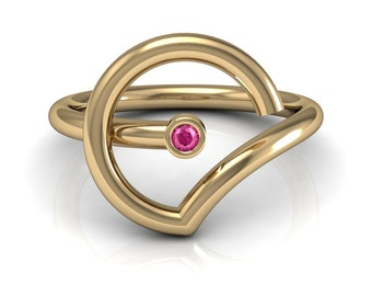 Abstract Pink Blue Yellow Sapphire Emerald Ruby Solitaire Ring in 14k Yellow Gold 2mm wide | made to order for you within 5-7 business days