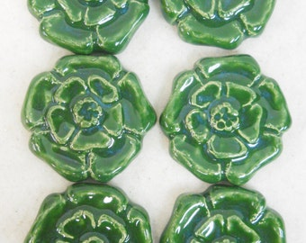 Handmade Decorative  Ceramic Tiles Rosette  Pattern set of 6 Forest Green - Mosaic Tile Pieces - Craft Tiles