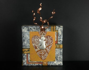 Sacred Heart Original with Angel Milagro and Copper Flames