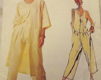 Vintage Sewing Pattern, Vintage Vogue Designer, Tamotsu  Pattern, Coat dress, pants, top, Retro 80s, Size 10, Uncut, Vogue 1546
