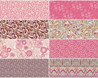 Coral pop - fat eighth Liberty print bundle, coral pink liberty of london tana lawn, 8 prints3.95