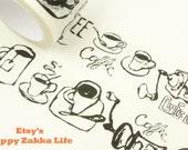 Coffee Supplies in Black - Japanese Washi Masking Tape - 30mm Wide - 11 Yards