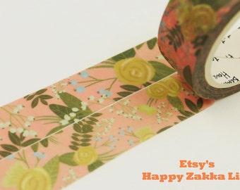 Yellow Flower with Dark Pink - Japanese Washi Masking Tape - 11 yards