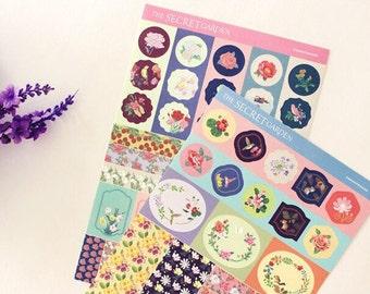 Paper Deco Sticker Set - The Secret Garden - 4 Sheets