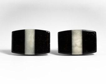 Ebony and Ivory Cufflinks -- Tagua Nut Ivory and Ebony Wood