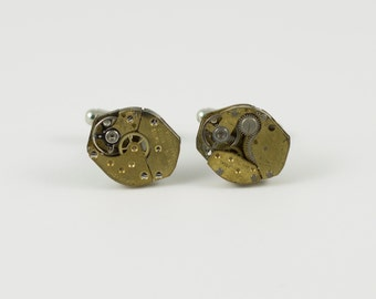 Gold Steampunk Watch Movement Cufflinks