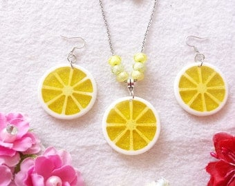 Citrus Lemon Set of Necklace and Earrings