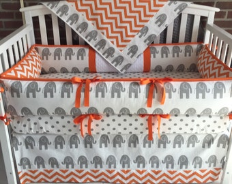 Crib Bedding  4 PC Gray Elephants/ Orange Chevron