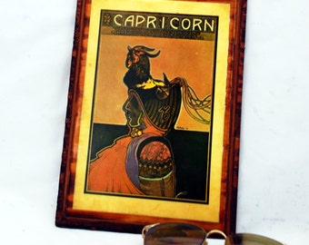 60s Capricorn Fantasy Resin Wood Sea Goat Wall Plaque - Free PRIORITY Shipping US