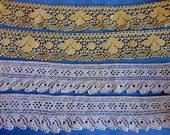 "Vintage Lace Trims - 2-1/2 yds. Creamy/White 2"" wide in two strips, 3 Yds. light Mustard Yellow 2"" wide continual length, machine made"
