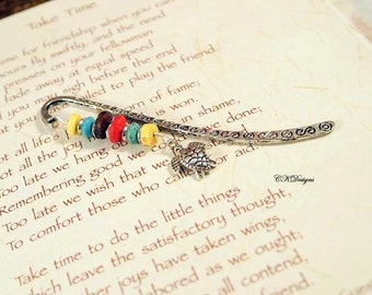 Sea Turtle Bookmark, Small Beaded Bookmark, Metal Bookmark. Unique Beaded Bookmark, Gift for  Reader, Gifts for Teachers, Handmade Bookmark.