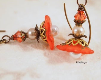 Lucite Flower Earrings, Peach Victorian Earrings,  Dangle Pierced of Clip-onEarrings. OOAK Handmade Earrings. CKDesigns.us