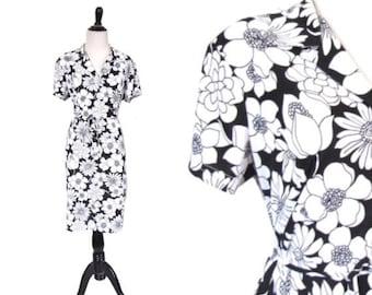l SALE l Vintage 1970's Dress l Black and White Floral Poly Dress l Size Large l Vintage Dress