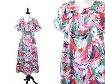 Vintage 1960's Dress l Abstract Floral Trapeze Dress l Size  Medium/Large l Vintage Dress