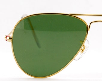 Sunglasses Gold Aviator with Green Lenses Eyeglass Frames Eyewear- Free Shipping in USA