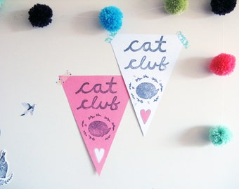 Pennant Flag, Cat Club wall decor print