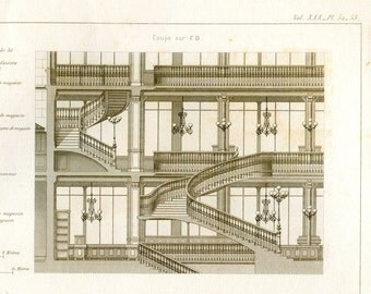 Large Vintage Architectural Print 1873 Le Bon Marché Paris France