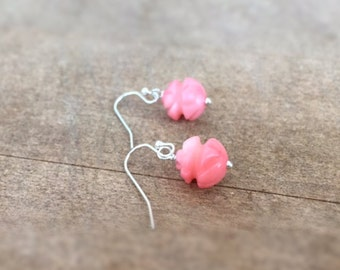 Children's Coral Earrings - Sterling Silver Jewelry - Peach Flower Pierced Earrings - Unique Gift Ideas for Her - Dainty