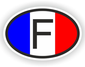 France Country Code Oval Sticker with Flag for Bumper Laptop Book Fridge Motorcycle Helmet ToolBox Door PC Hard Hat Tool Box Locker Truck