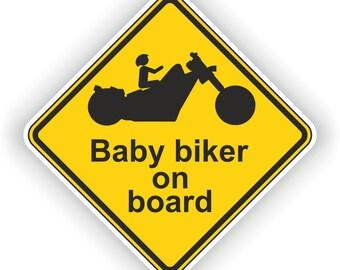 Baby Biker on Board Warning Sticker for Bumper Car Laptop Book Fridge Guitar Motorcycle Helmet ToolBox Door PC Boat