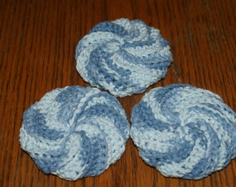 Set of 3 Spiral Scrubbers Crochet dishcloths  All Cotton  Puffy Wash Cloth  Pot Scrubber face cloth