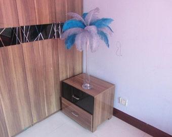 50 Turquoise & 50 Silver wedding table centerpiecetable decoration,ostrich centerpiece,ostrich feather centerpiece
