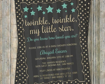 Glitter Twinkle, Twinkle Little Star baby shower invitation, gold, charcoal, light teal, How loved you are, printable file