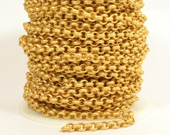 5ft - 18K Gold Plated Rolo Chain - 5.7mm Matte Gold Plated - CH81-18K-MG