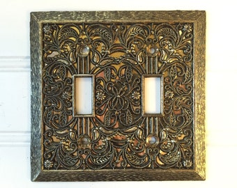 Metal Lightswitch Cover - Double Lightswitch Plate Cover - Vintage Gold - Mid Century Decor - Decorative