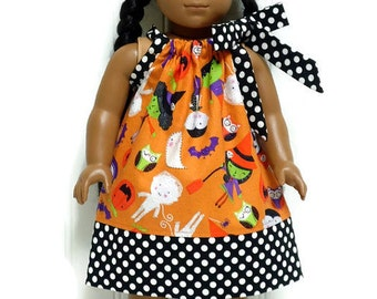 18 inch Doll Clothes Halloween Pillowcase Dress Zombie Mummy Witch Black Polka Dot 15 inch Doll Clothes