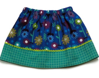 Girls skirt, Custom Boutique Blue Flowers Size 4 / 5 - Ready to Ship