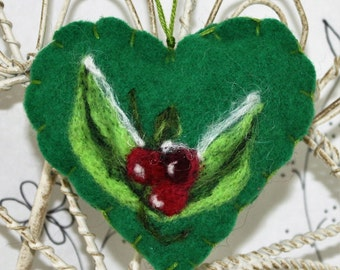 Needle felted heart ornament, brooch, pincushion, leaves and berries ornament, Mothers Day, friend ornament, Forget me not heart Curly Furr
