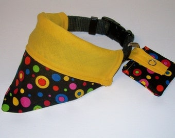 """2 Piece Set, Dog Tag Cover """"One Size Fits All"""" Slide On Dog Bandana, Size: X-Small"""